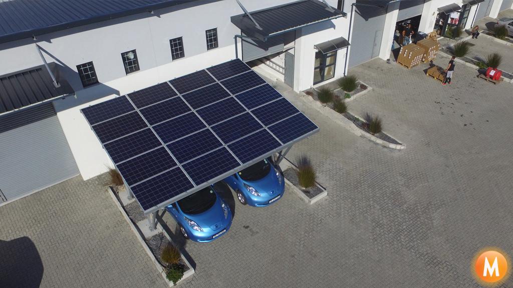 solar carport aerial view
